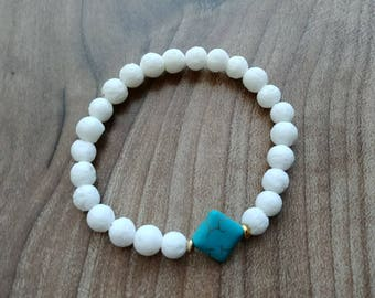 6mm White coral with diamond shape Turquoise, gold spacers