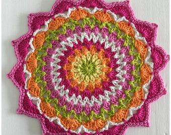 Crochet Mandala,Crochet Table Mat,Hot pink Mandala Doily,Tablemat,Crochet Coaster Ready to Ship,