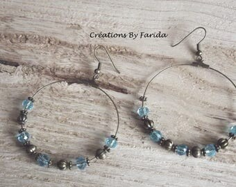 Creole bronze color with pretty sky blue beads and bronze metal beads