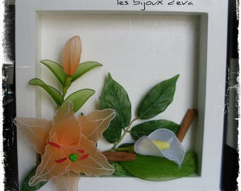 orange floral frame with nylon flowers