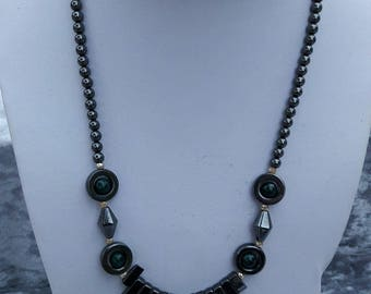 Necklace made of hematite beads