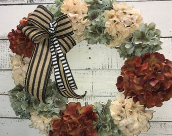Fall Wreath, Fall HydrangeasWreath, Fall Door Wreath, Fall Hydrangeas, Hydrangeas Wreath, Fall Decor, Decorative Wreath, Front Door Wreath