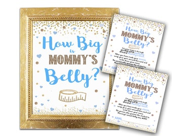 Baby Shower Game - How Big Is Mommy's Belly? - Blue and Gold Teal Shower Decor and Games Party Instant Download Boy Activity Ideas printable