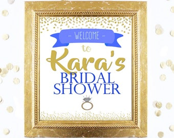 Bridal or Baby Shower Welcome Sign Customized - Blue and Gold Glitter Confetti - Instant Printable Digital Download - Printables and Games