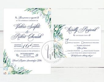 Floral Wedding Invitation, Classic Wedding Invites, Elegant Wedding Invitation, Custom Wedding Invite, Modern Wedding Invitation