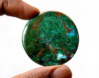 Chrysocolla Big 87 Cts AAA Quality Natural Gemstone Attractive Designer Round Shape Cabochon 41x41x4 MM R14067