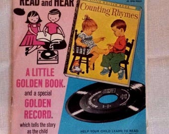 Vintage Childrens Little Golden Book and 45 RPM Record Counting Rhymes