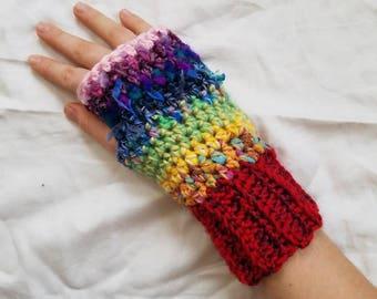 Women's Fingerless Gloves, Crochet Fingerless Gloves, Fingerless Gloves, Rainbow Gloves, Women's Gloves, Handmade Gloves, Women's Arm Warmer