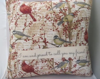 friendship gifts quotes, cardinals, decorative throw pillow, words on pillows, bird pillow, unique gifts
