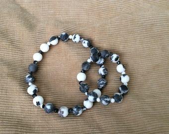 Zebra Jasper Pet Necklace and Bracelet Set
