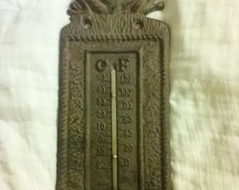Vintage Cast Iron Frog Thermometer