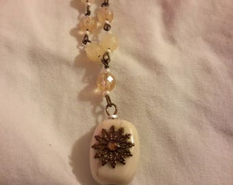 Vintage White Beaded Necklace Chain