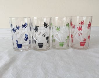 Vintage Swanky Swigs Juice Glasses Set of 4 Tulip Pattern