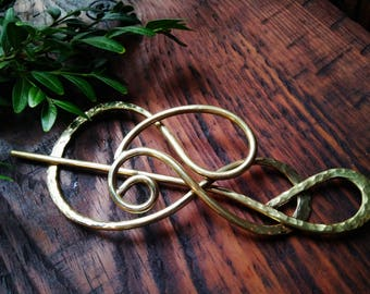 Brass Hammered Hair slide Nature inspired Forged Hair Barrette Ponytail Holder Metal Work Gift For Women Hair Accessories For long Hair