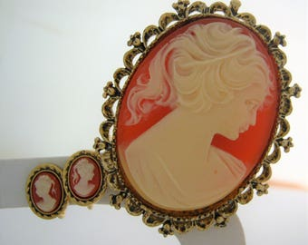 Gerry's Cameo Brooch and Earring Set*Vintage Jewelry 1970's*Victorian Lady*Cast of Resin*Gold Metal Framing the Cameos*Antique Finish