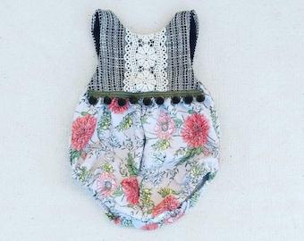 Boho Woven Tweed/Floral Bubble Romper