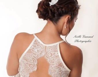 Lace ivory short Halter dress