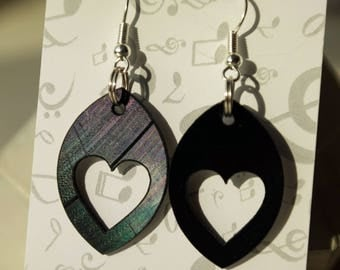 Black dangle vinyl record earrings,earrings for woman,hearts,eye,upcycled earrings minimalist earrings sustainable fashion edgy jewelry