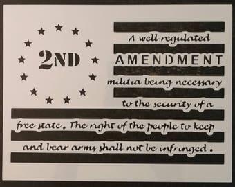 2nd Amendment Guns Gun Right To Bear Arms Flag Custom Stencil FAST FREE SHIPPING