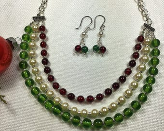 Red and Green Multi Strand Christmas Necklace (CN3)