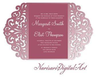 5x7 Gate-fold Wedding Invitation laser cut  Card Template, SVG DXF cutting file, Silhouette Cameo, Cricut