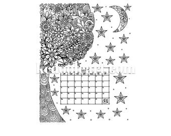Instant Download - Ready to Print - August 2018 - Coloring Page