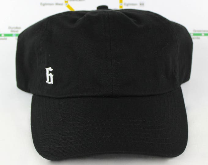 """Featured listing image: Minimalist """"The 6"""" Collection Black Dad Hat! 100% Cotton, Unstructured """"416"""" Toronto Dad/Polo Caps! YYZ, GTA, OVO, T Dot, The 6ix, Six, 6!,"""