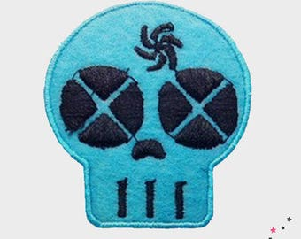 Patch fusible blue skull