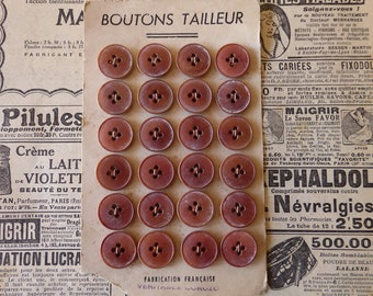 Set of 24 Vintage Tan Sewing Buttons ~ Original French Boutons Tailleur Card ~ 1/2 inch 12mm