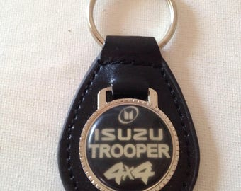 Isuzu Trooper 4X4 Keychain Black Leather Key Chain