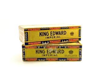 Vintage King Edward Cigar Box, Pair Vintage Cardboard Cigar Boxes, Tobacciana Collection, Father's Day Gift Box