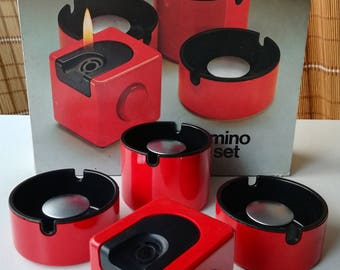 Braun domino set red with box sheets Made in Ireland 1970s