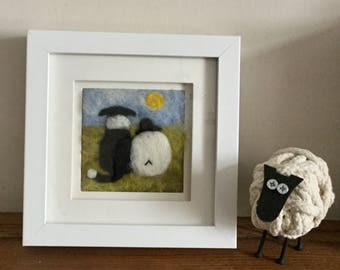 Sheep and Border Collie needle felted fibre art picture. 'Old Pals' Shows a sheepdog and sheep enjoying the sinshinevtogether