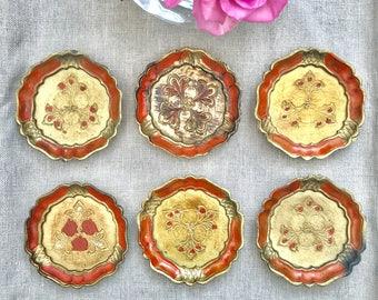 Set of Six Vintage Italian Florentine Coasters - Orange/drink trivets/made in italy/Gifts/ornate barware/serving/drinks/homebar