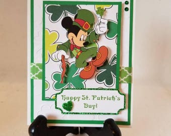 Unique, handmade, handcrafted Mickey Mouse St. Patrick's Day Card