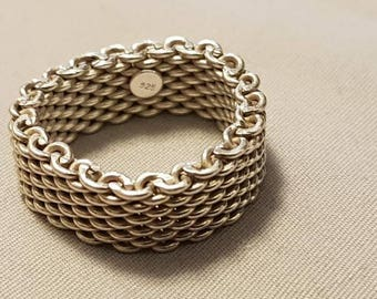 Sterling Silver Woven Mesh Ring (Size 8)