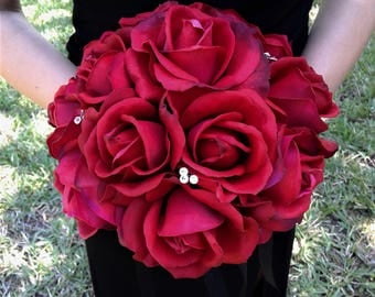 Red Wedding Bouquet-Red Real Touch Rose Wedding Bouquet With Matching Boutonniere