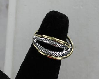 VINTAGE, Retired & RARE! David Yurman 18k Gold Sterling Cable Ring Size 6.5