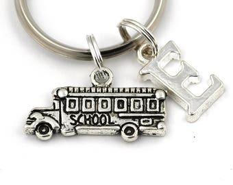 School Bus Key Ring, Personalized School Bus Keychain, Initial Keychain, School Bus Driver Keyring, End of School Year Gift, Bus Driver Gift