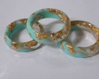 Resin Stacking Rings!  Opaque minty and clear resin rings with gold flakes embedded throughout!  A beautiful fashion statement!