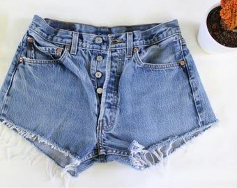 Vintage Levis 501 High Waisted Denim Jean Shorts - Cut Offs - Destroyed Jeans - Short Shorts - Distressed Denim Shorts - Festival Shorts