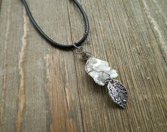 Crystal Geode Necklace with Leaf Charm