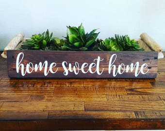 Home Sweet Home Wood Sign | Handpainted | Rustic Farmhouse | Shabby Chic | Rustic Decor | Repurposed Wood | Multiple Sizes Available