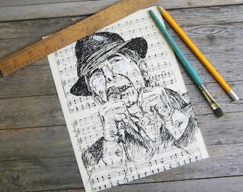 Leonard Cohen Portrait, Book Art Print, Leonard Cohen Poster, Dictionary Art, Hipster Decor, Dorm Decor, Leonard Cohen, Black and White