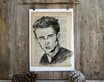 Dictionary Art, James Dean Portrait, Printable wall art, James Dean Poster, James Dean Dictionary Art, James Dean print, Wall decor