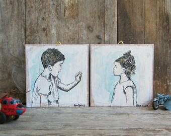 Miniature Paintings, Set of 2, Cute Children Print, Kids Room Decor, Rustic Nursery Art, Kids Pictures, Wood Signs, Nursery Decor