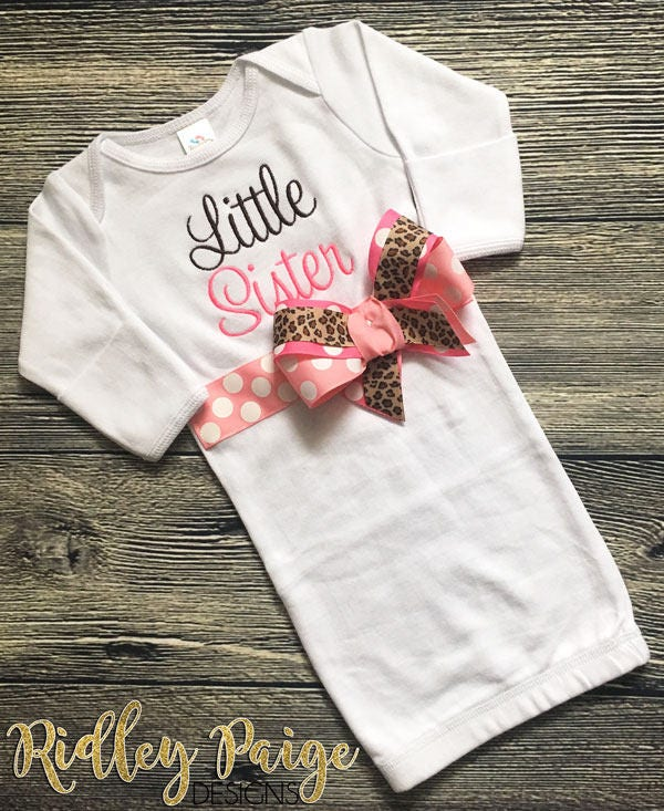 Little Sister Layette Gown, Newborn Baby Girl Clothing, Baby Sister ...