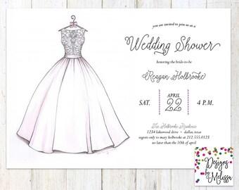 Bridal Shower Invitation - Wedding Dress Invitation - Wedding Shower - Bridal Invitation - Printable Invite - Blush Invitation -DIGITAL FILE