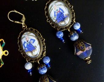 "Medieval ""Miniatures"", illustrated Cabochons Stud Earrings, handmade glass, gemstone, bronze metal"