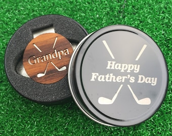 """Fathers Day """"Grandpa"""" Teak Wood golf ball marker hat clip with OPTIONAL tin"""